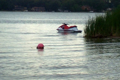 jetski on lakeshore